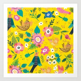 The yellow vision of the little bird Art Print