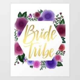 Shiny gold Bride Tribe (floral hexagon) Art Print