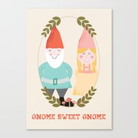 gnome Canvas Prints featuring Gnome Sweet Gnome by Beth Laird