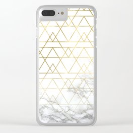 Gold Geometric Marble Deco Design Clear iPhone Case
