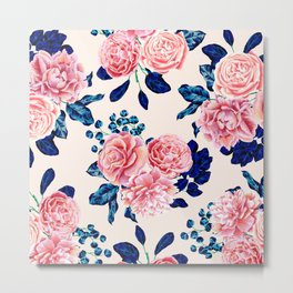 Girly Pink Navy Blue Country Painted Flowers Metal Print