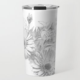 Beautiful flowers, realistic, pencil drawing on paper Travel Mug