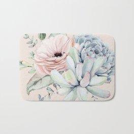 Elegant Blush Pink Succulent Garden by Nature Magick Bath Mat