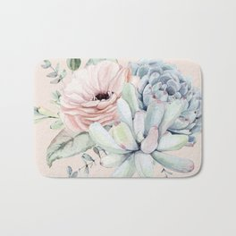 Elegant Blush Pink Succulent Garden by Nature Magick Bath Mat
