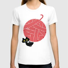 Fitz - Happiness (cat and yarn) White MEDIUM Womens Fitted Tee