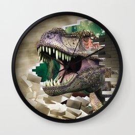 Destroying dinosaur Wall Clock