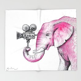 Filming Pink Elephant Throw Blanket