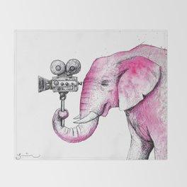 Filming Pink Elephant Throw Blanket