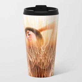 Woman In Wheat Field Travel Mug