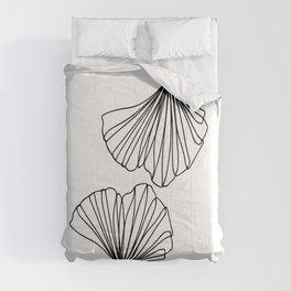 Ginkgo Leaves 01 Minimal Line Art Comforters