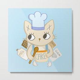 Cat is baking a Cake Metal Print