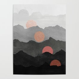 Mountains and the Moon - Black - Silver - Copper - Gold - Rose Gold Poster