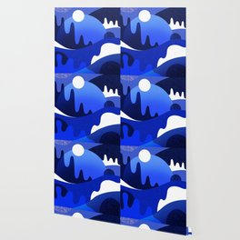Terrazzo landscape blue night Wallpaper