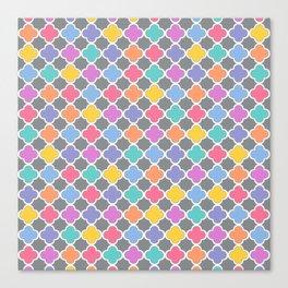 Rainbow & Gray Quatrefoil Canvas Print