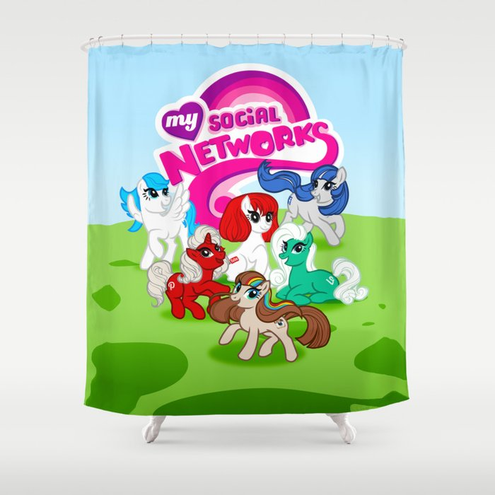 My Social Networks My Little Pony Parody Shower Curtain By
