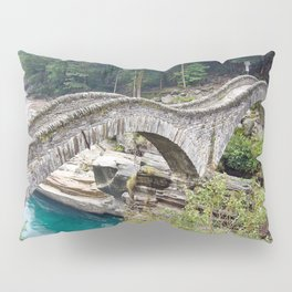 The Romantic Bridge, Ponte dei Salti, Lavertezzo, Switzerland River Verzasca photograph Pillow Sham