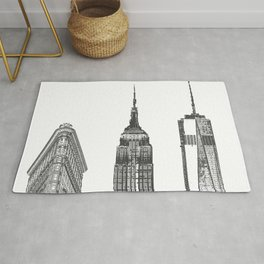New York City Iconic Buildings-Empire State, Flatiron, One World Trade Rug