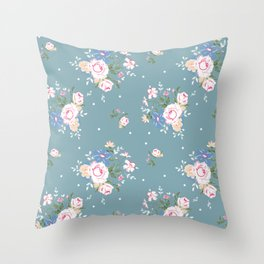 Heirloom Rose - Teal Throw Pillow