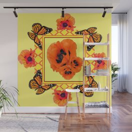 WESTERN ORANGE POPPIES & BUTTERFLIES  YELLOW ART DESIGN Wall Mural