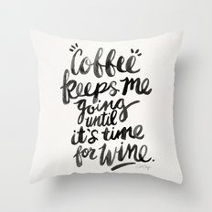 Coffee & Wine – Black Ink Throw Pillow