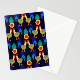 Pecking Order - Folk Art Roosters Stationery Cards