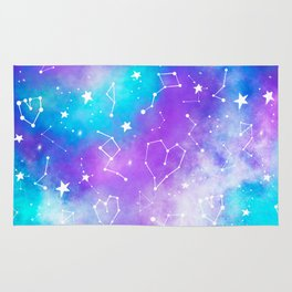 Modern nebula ultra violet watercolor hand painted white constellation stars universe small pattern Rug