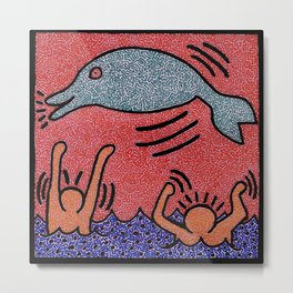 Keith Haring Dolphin Metal Print
