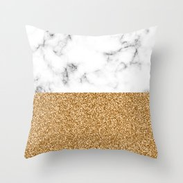 dip-dyed marble – yellow gold Throw Pillow