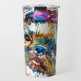 Colorful Shih Tzu Dog Art By Sharon Cummings Travel Mug