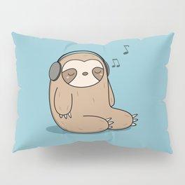 Kawaii Cute Sloth Listening To Music Pillow Sham