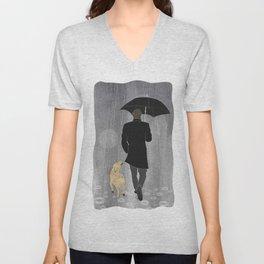 Dog walk in rain Unisex V-Neck