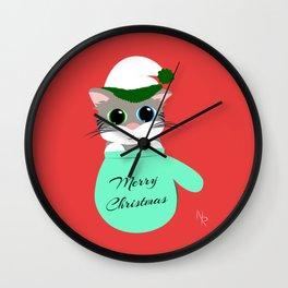 Kitten in a Mitten Wall Clock