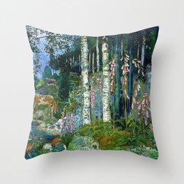 Wilderness Landscape, Wild Foxglove Flowers, White Birch, Stream & Cattle by Nikolai Astrup Throw Pillow