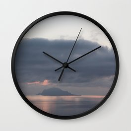 sunrise over the sea, sicily Wall Clock