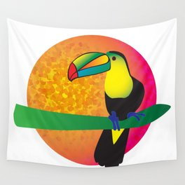 Toucan - White Wall Tapestry