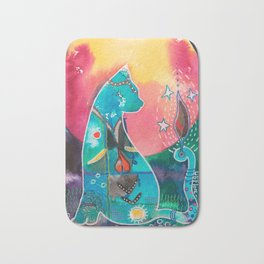 Super Cat - fantastic animal - by LiliFlore Bath Mat