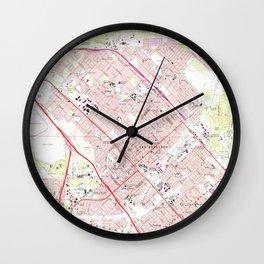 Vintage Map of San Fernando California (1966) Wall Clock