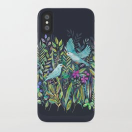 Little Garden Birds in Watercolor iPhone Case