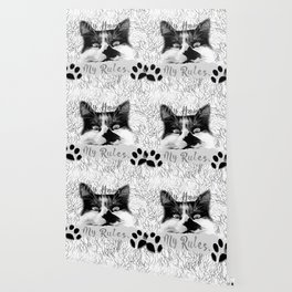 cat my home my rules vector art black white gray Wallpaper
