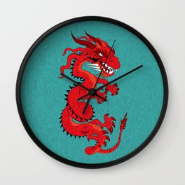 Red Dragon with Teal Wall Clock