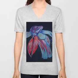Male Siamese Fighting Fish Betta Splendens Unisex V-Neck