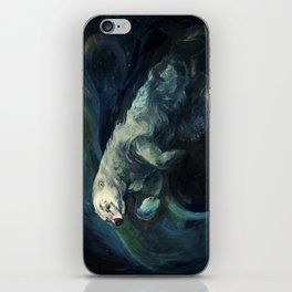 Polar Bear Swimming in Northern Lights iPhone Skin