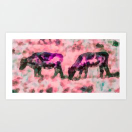 Cow Art - Grazing In Profile By Priya Ghose Art Print