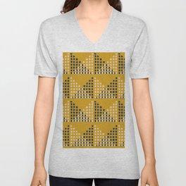 Layered Geometric Block Print in Mustard Unisex V-Neck