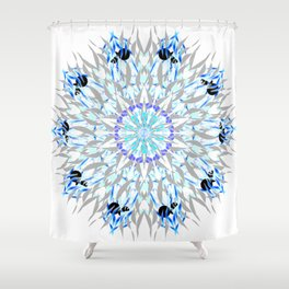 ice flake winter mandala Shower Curtain