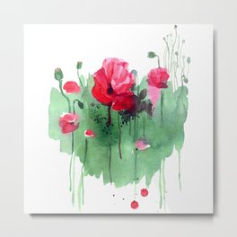 Watercolor hand drawn poppies on green heart background. Metal Print