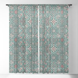 Peranakan Art Nouveau Tiles (Mixed Patterns in Peach Garden) Sheer Curtain