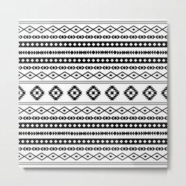 Aztec Black on White Mixed Motifs Pattern Metal Print
