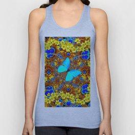 OPULENT YELLOW FLOWERS & BLUE SATIN BUTTERFLY ART Unisex Tank Top