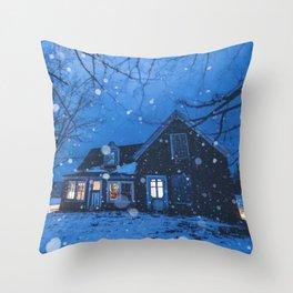 Snowsquall on the Farm Throw Pillow
